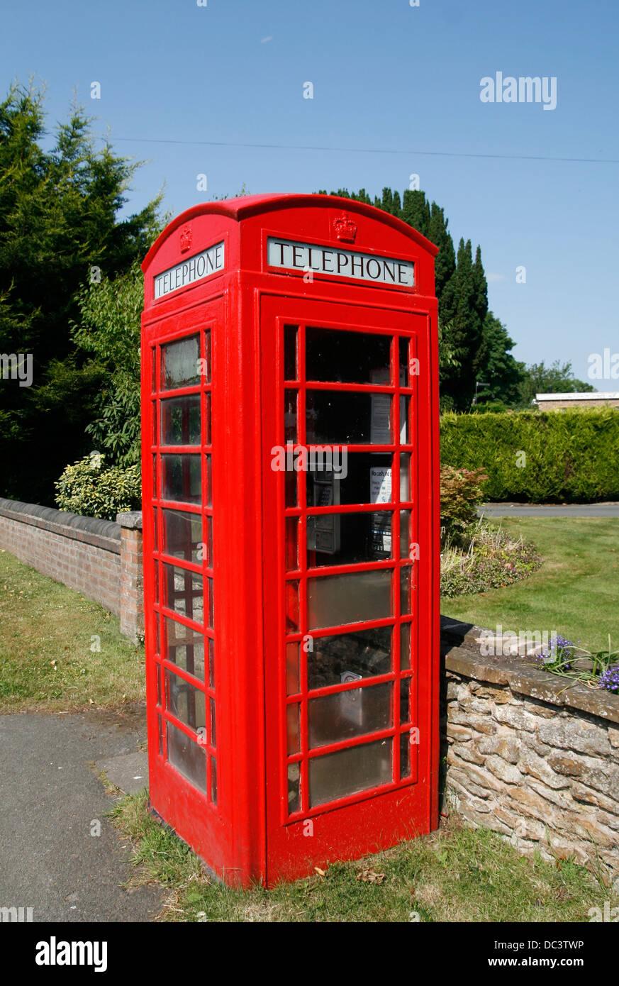Red telephone box Inkberrow Worcestershire England UK - Stock Image