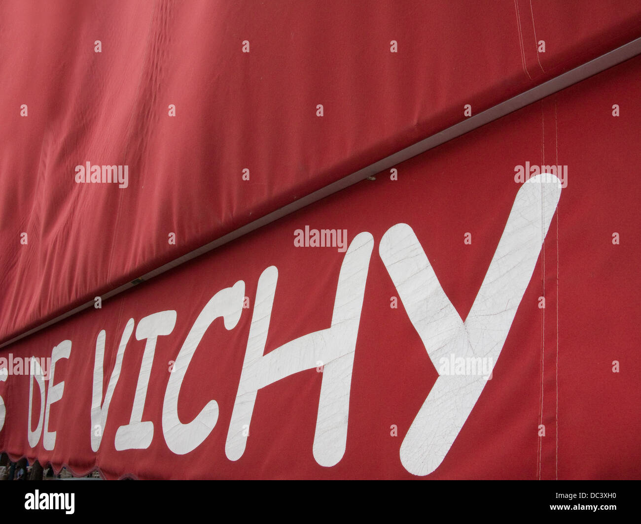 RED AWNING SOUVENIR SHOP VICHY AUVERGNE FRANCE - Stock Image