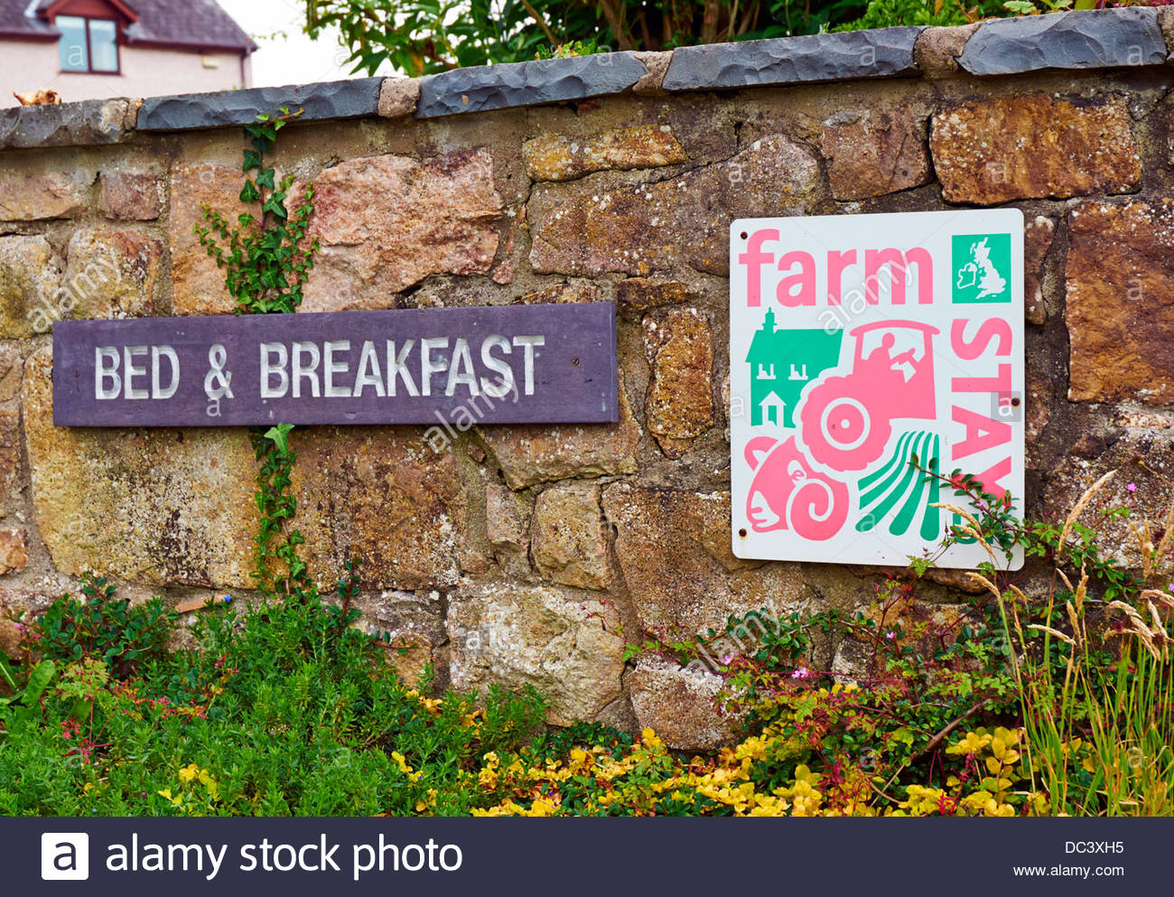 a bed and & breakfast and a farm stay holiday sign fixed to stone wall - Stock Image