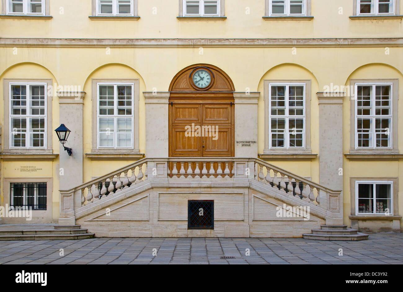 The Ambassadors stairs, Swiss courtyard, Hofburg Palace, Vienna, Austria. Stock Photo