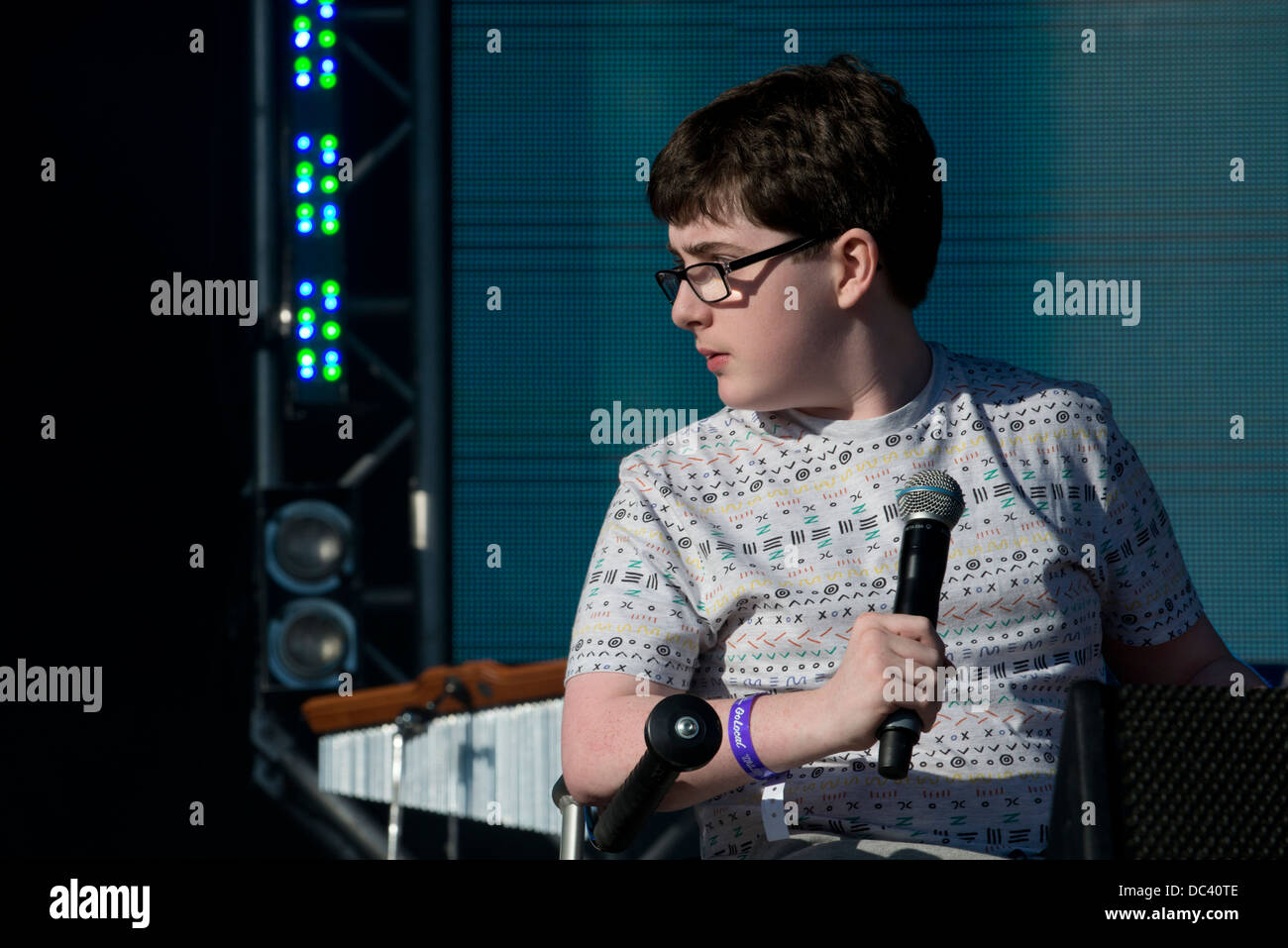 Jack Carroll performs his comedy at Go Local, Queen Elizabeth Olympic Park, London. - Stock Image