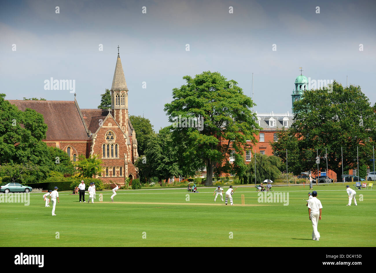 Junior boys cricket match at Shrewsbury School in England Uk - Stock Image