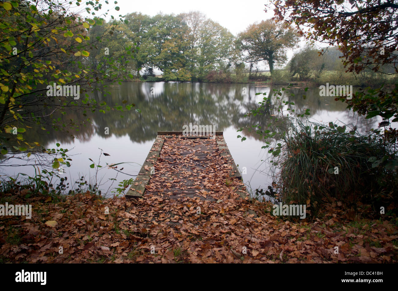 A fishing lake in Burgess Hill, West Sussex. Stock Photo