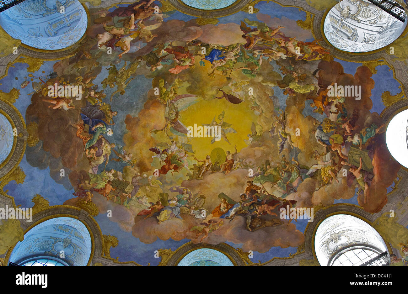 The fresco of the oval ceiling of the dome of the 'Prunksaal', the State Hall of the National Library, in - Stock Image