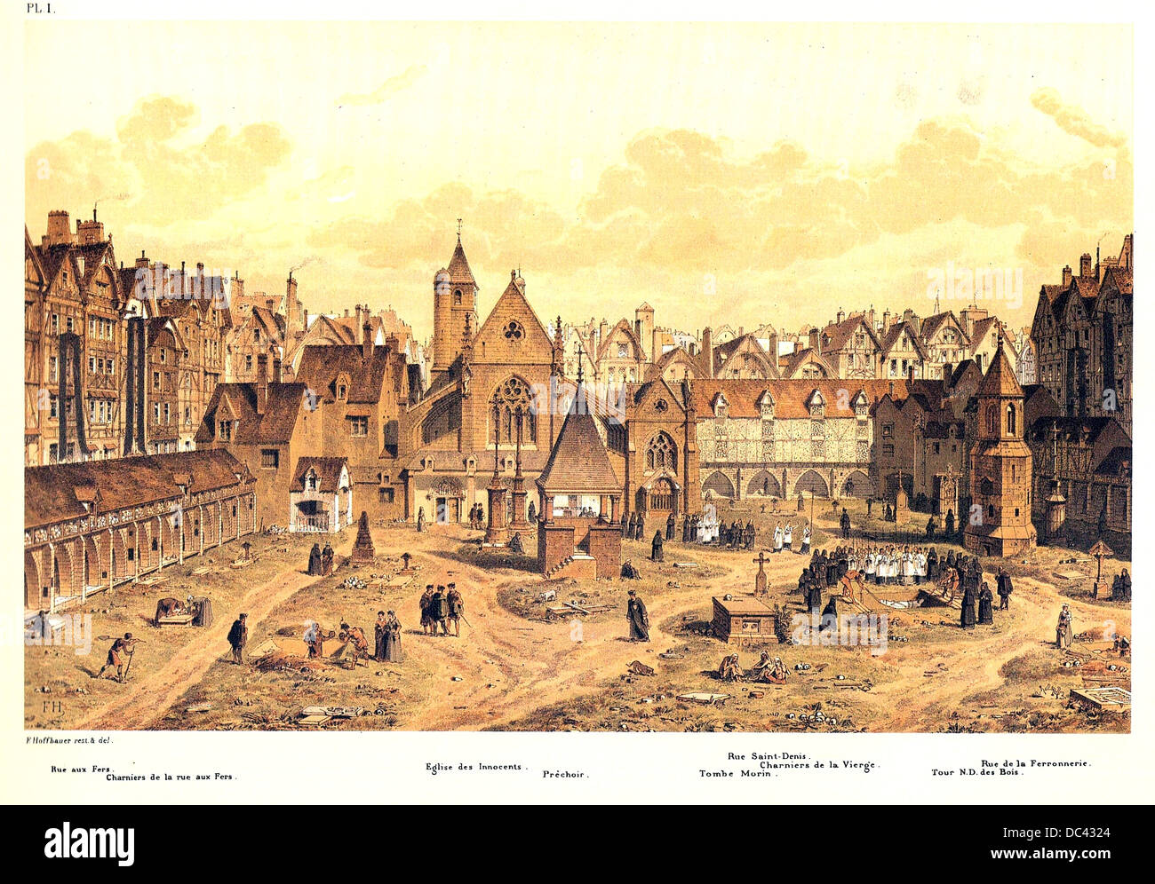 Engraving depicting the Saints Innocents cemetery in Paris, around the year 1550 - Stock Image