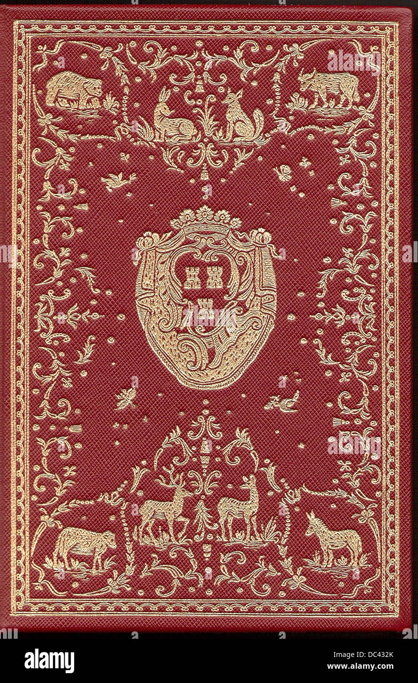 bookbinding of a volume of the La Fontaine's Fables, with the CoA of Madame de Pompadour. Editing of 1755 - Stock Image