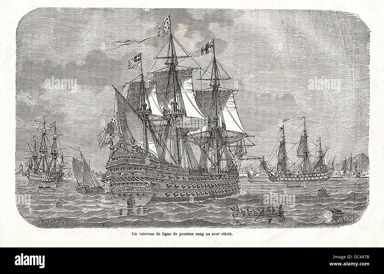 "First-rate ship of the Line of the french navy in the 17th century. Engraving by Pibaraud & Lebreton, from the ""National Stock Photo"