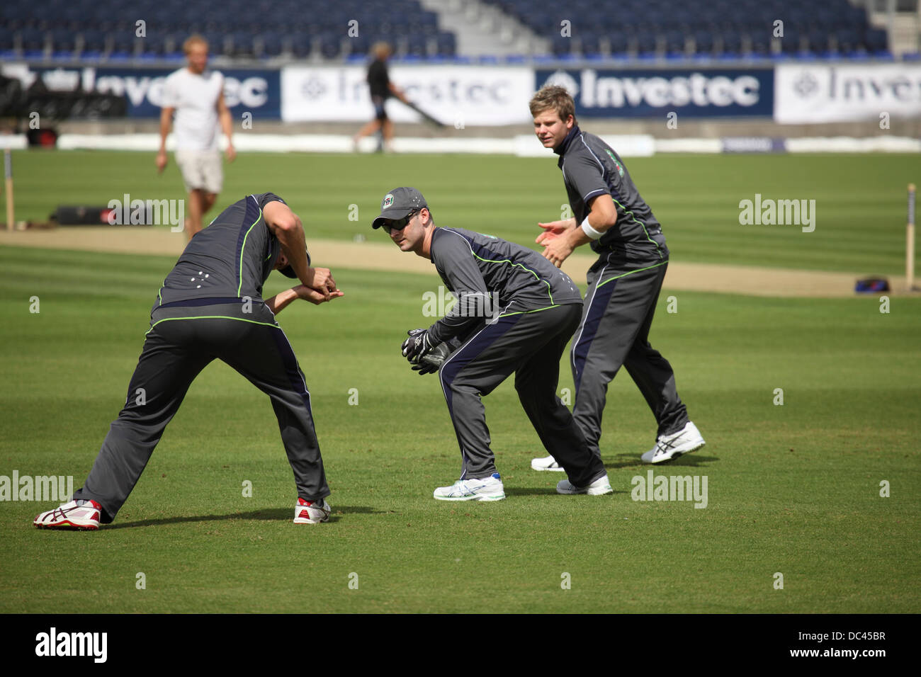 Durham, UK. 08th Aug, 2013. Australian players fielding in the slips during Australia's training session at - Stock Image