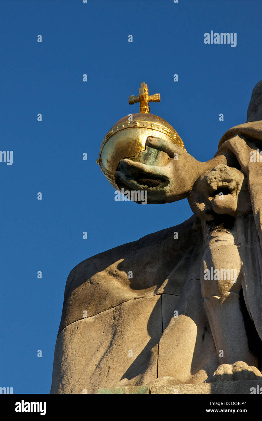 'France of the Middle Ages', by Alfred-Charles Lenoir, statue of the 'Pont Alexandre III' in Paris, - Stock Image