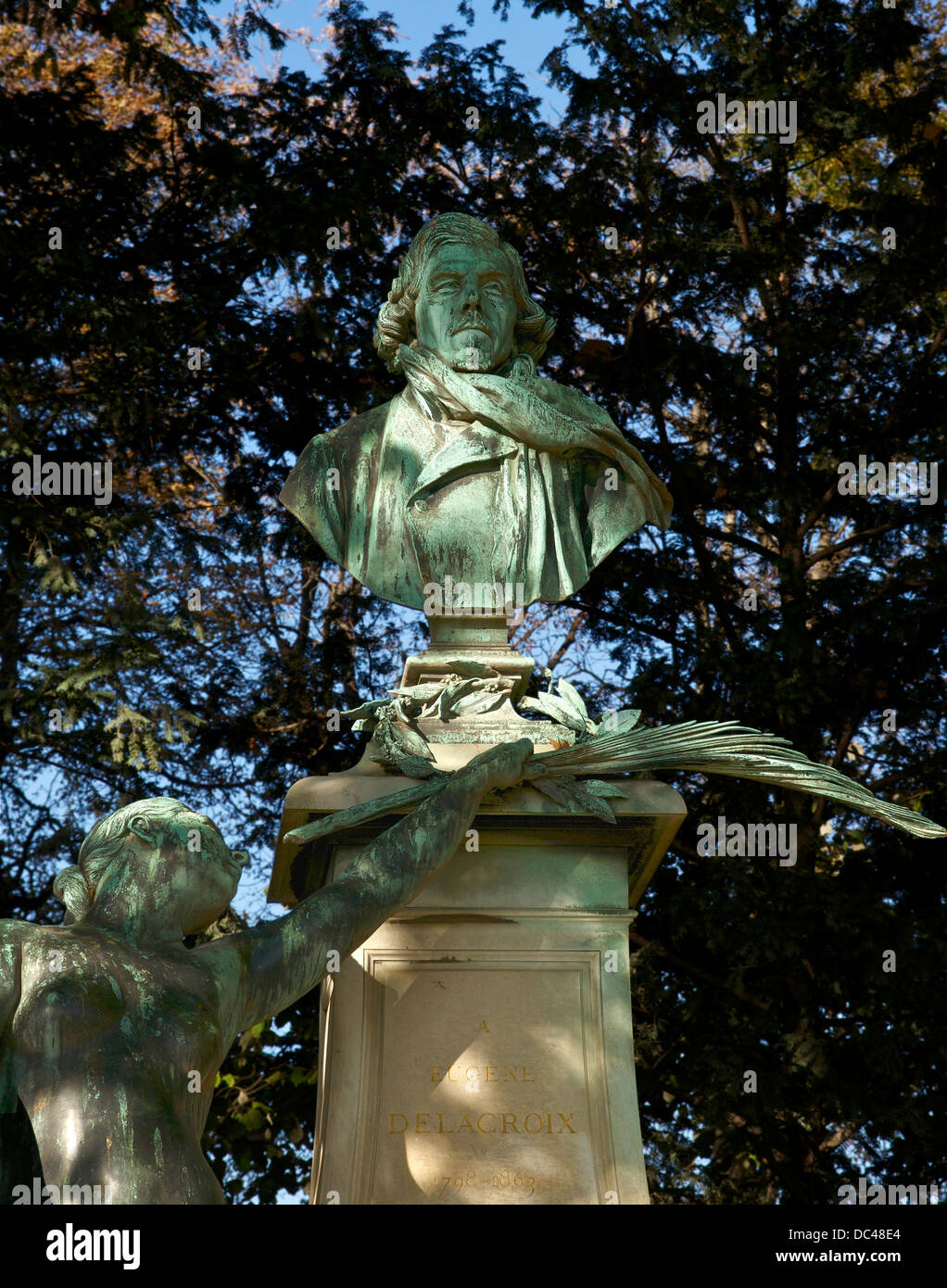Detail of the monument to Eugène Delacroix (1798-1863): the bust of the painter Stock Photo