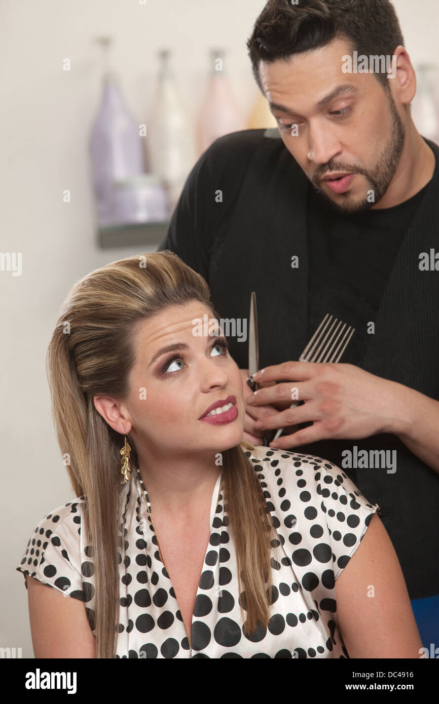 Hairdresser Talking With Client - Stock Image