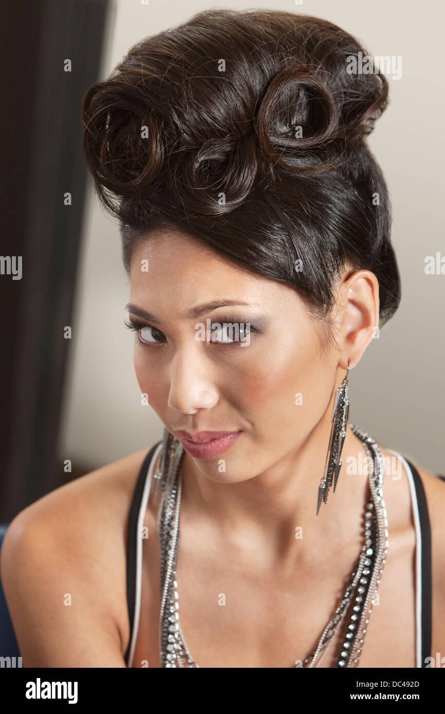Woman In Retro Hairdo Stock Photo 59101909 Alamy