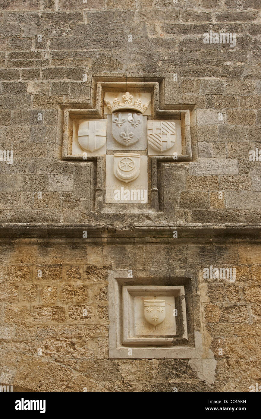 Some engraved CoA (FRance, Order of St John, Grand-Master Carretto etc...) in a wall of the fortress of Rhodes, - Stock Image