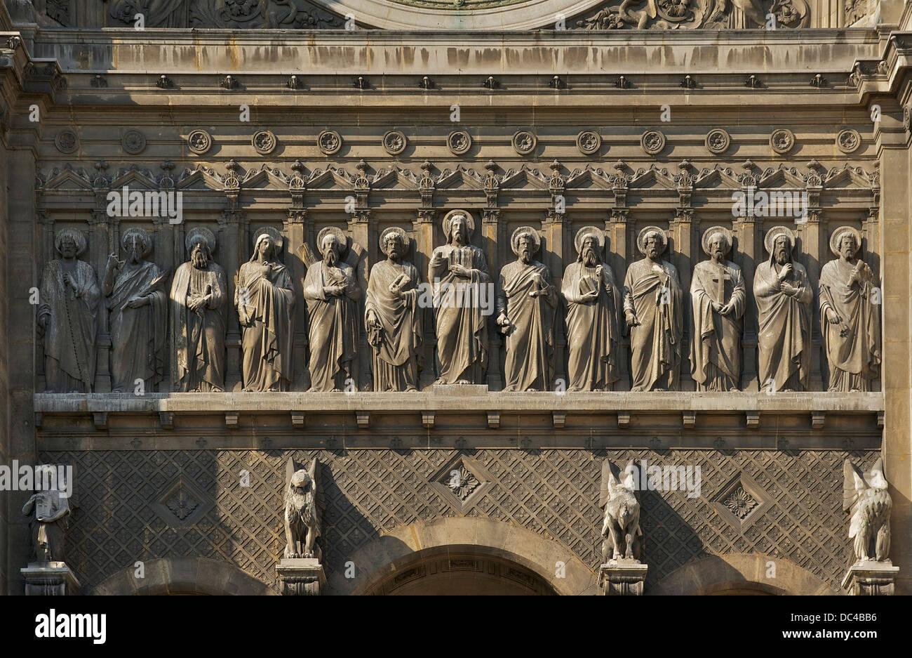 Frieze of Jesus and the Twelve Apostles, façade of church Saint-Augustin in Paris. - Stock Image