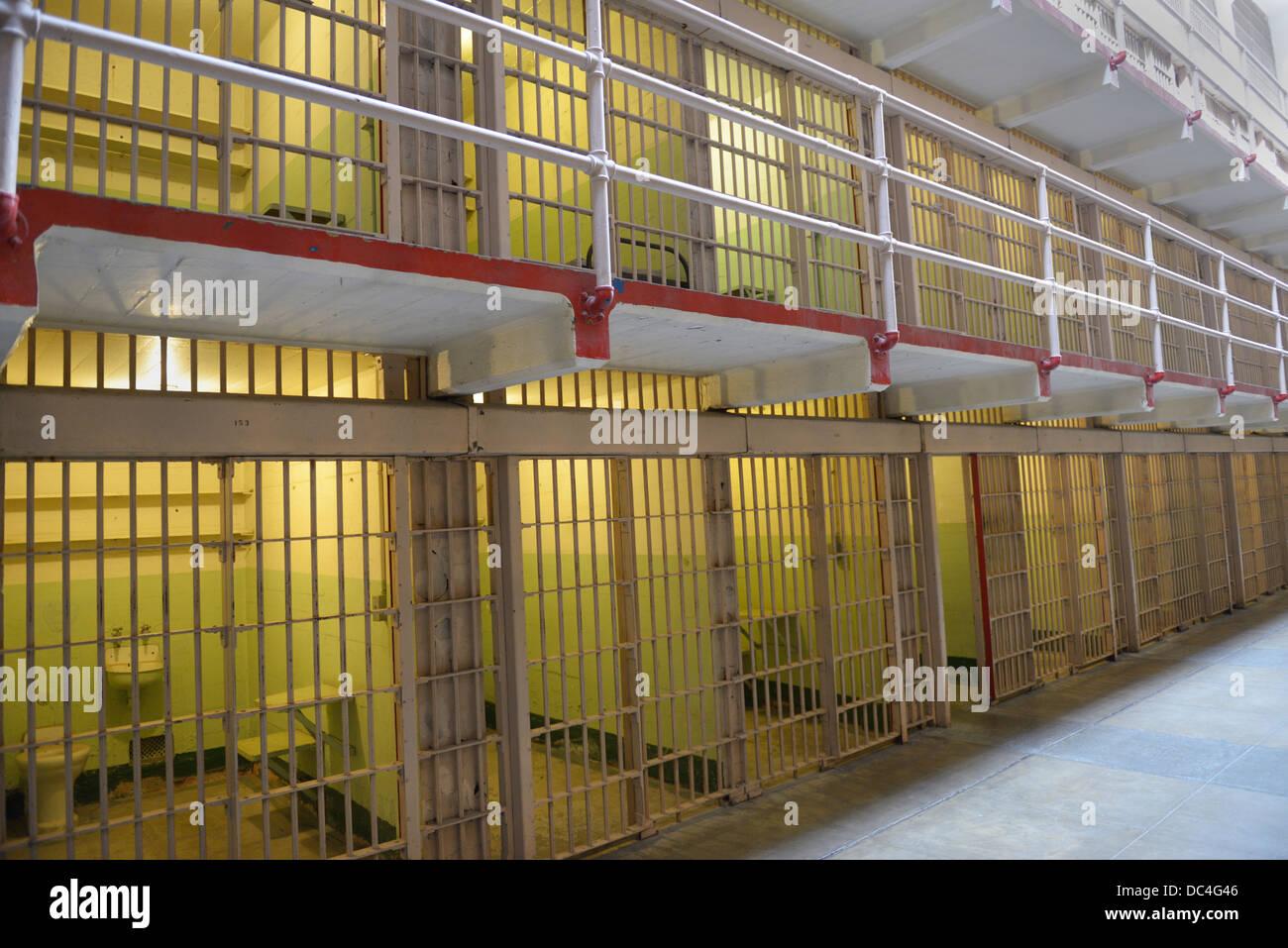 Alcatraz Penitentiary prison cells - Stock Image