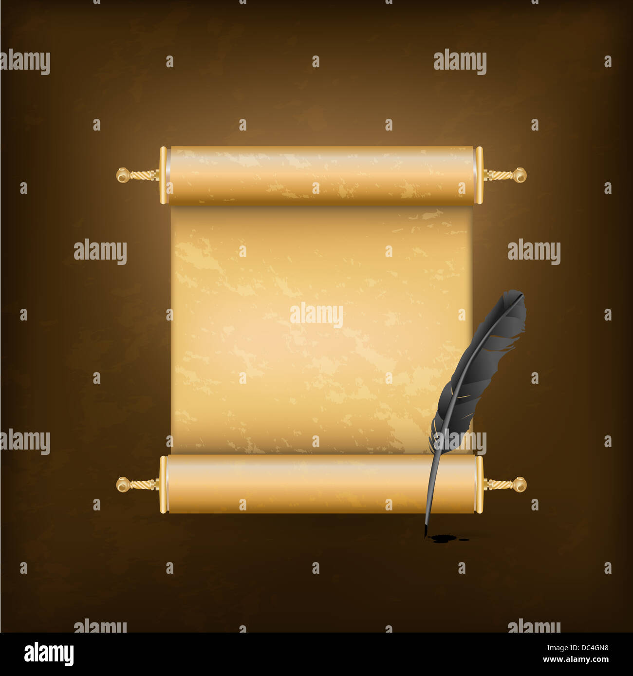 black feather and ancient scroll - Stock Image