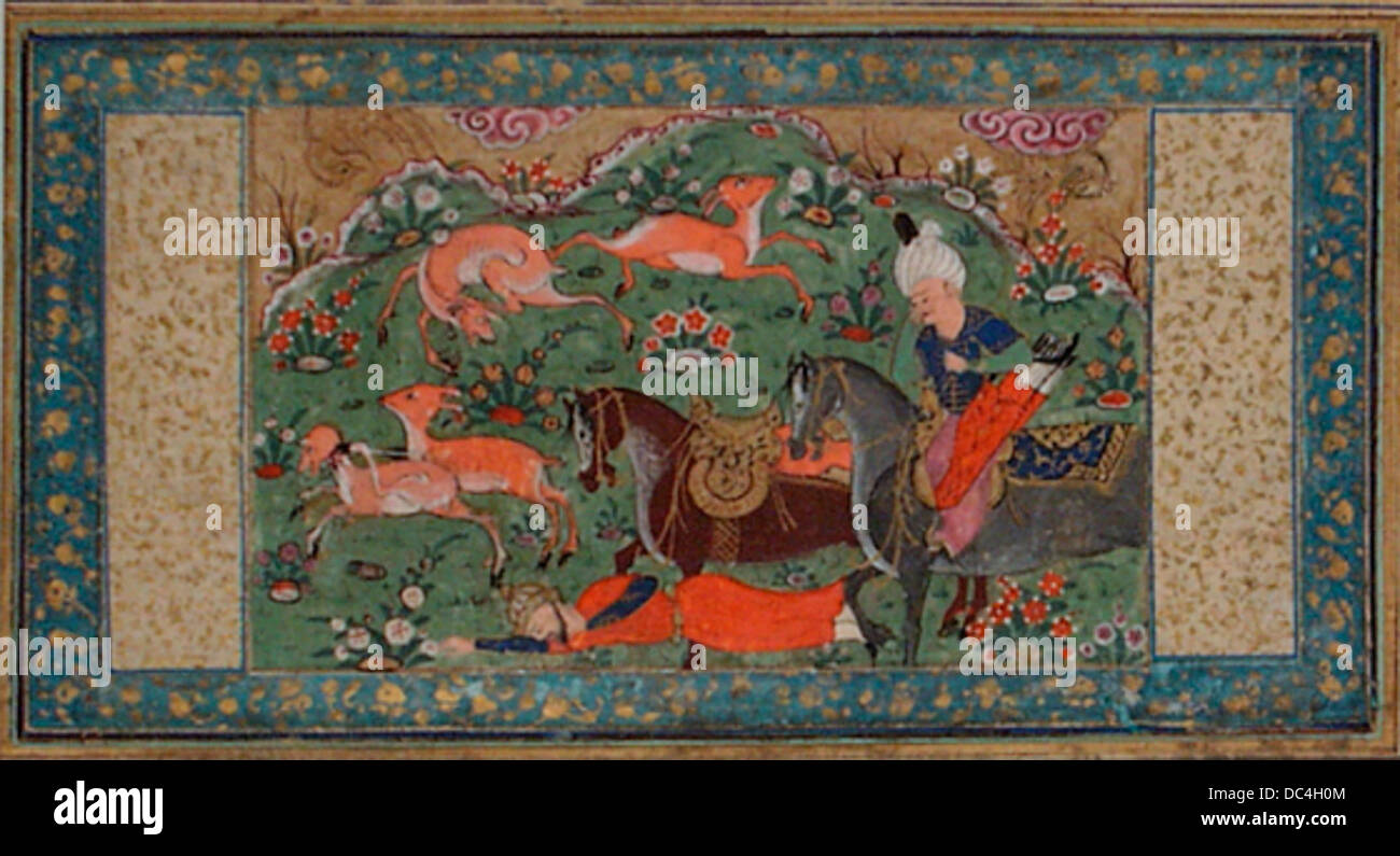 Bahram Gur Tramples a Bearded Figure Under the Hooves of His Horse, Page from a Manuscript of the Shahnama (Book - Stock Image