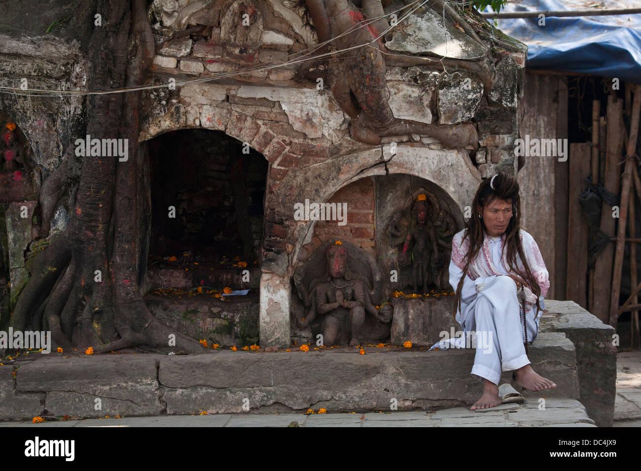 Sadhu in Durbar Square, Kathmandu. - Stock Image