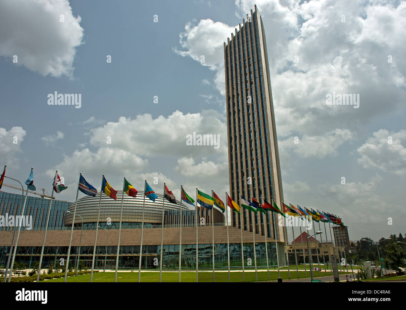 Skyscraper of the African Union Conference Center and Office Complex (AUCC), Addis Ababa, Ethiopia Stock Photo