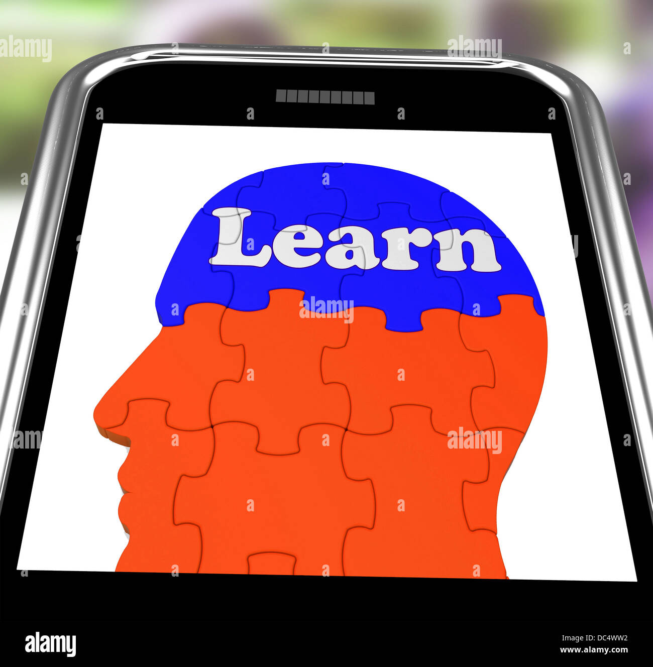 Learn On Brain On Smartphone Showing Human Training - Stock Image