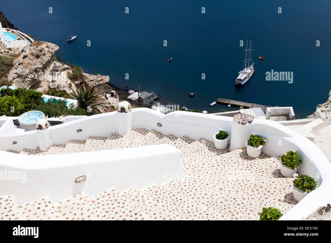 Steep steps on the edge of the caldera at Oia Santorini Greece Europe - Stock Image