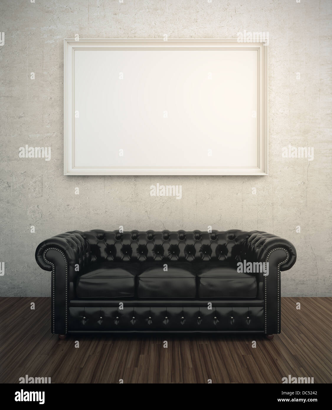 Strange Black Leather Sofa Next To White Wall With Blank Frame Stock Pdpeps Interior Chair Design Pdpepsorg