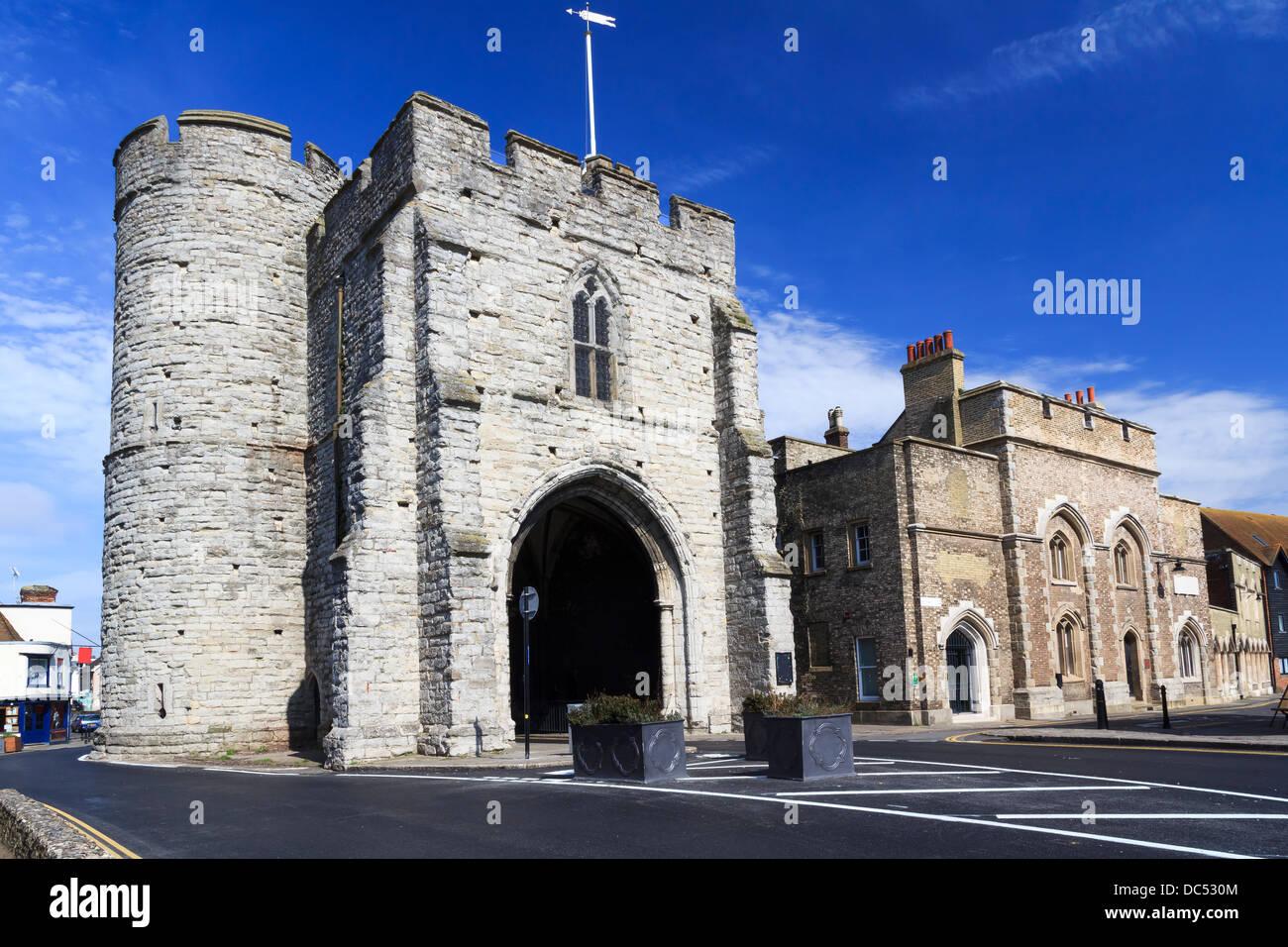 The 14th century Westgate Medieval Gatehouse at Canterbury Kent England UK - Stock Image