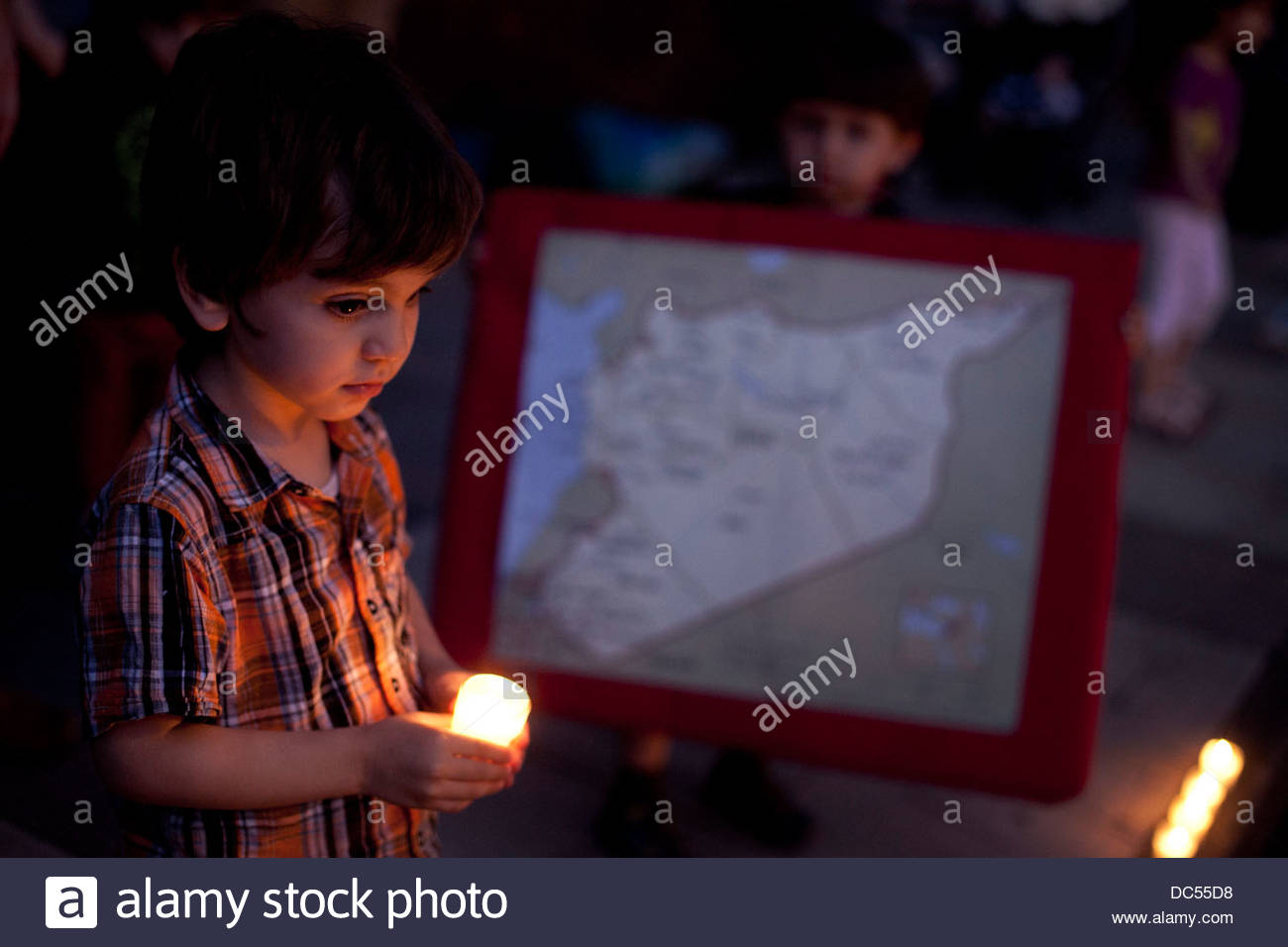 Candlelit vigil against Syrian government . Picture taken in Manchester September 2011 - Stock Image