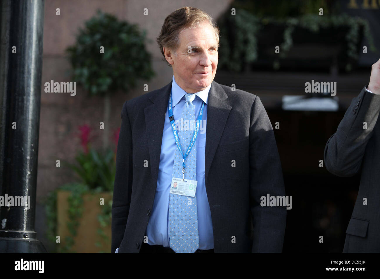 Conservative party conference at Manchester Central 2009 Jonathan Aitken leaves his hotel in the morning - Stock Image