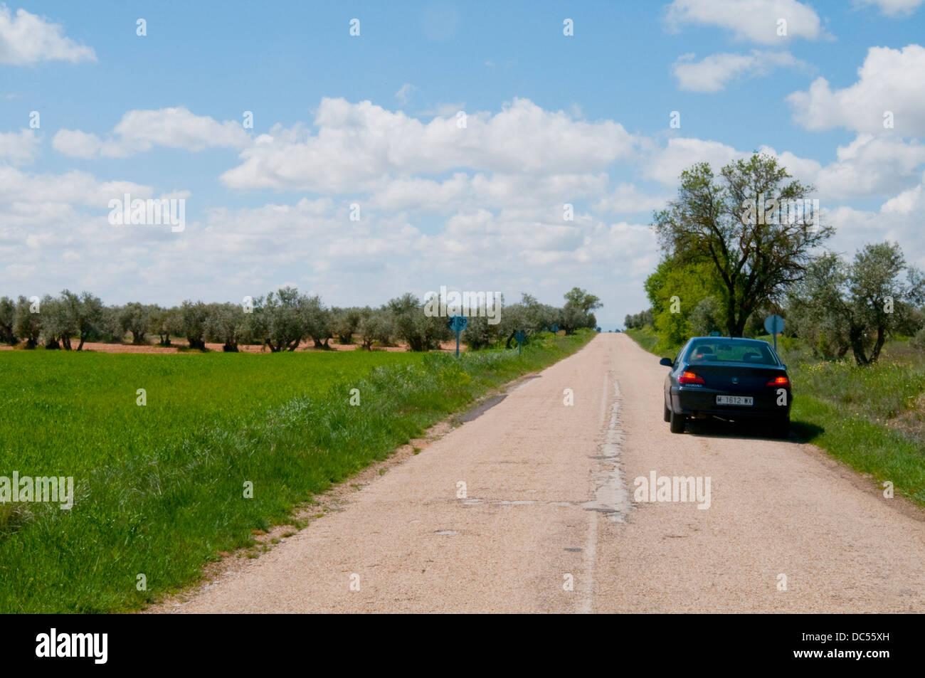Stopped car on a side road, emergency lights on. Toledo province, Castilla La Mancha, Spain. - Stock Image