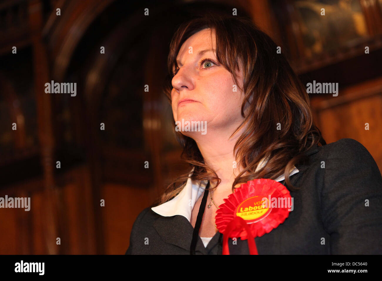 European Parliament election in the North West results night at Manchester Town Hall. Labour winner Arlene McCarthy. - Stock Image