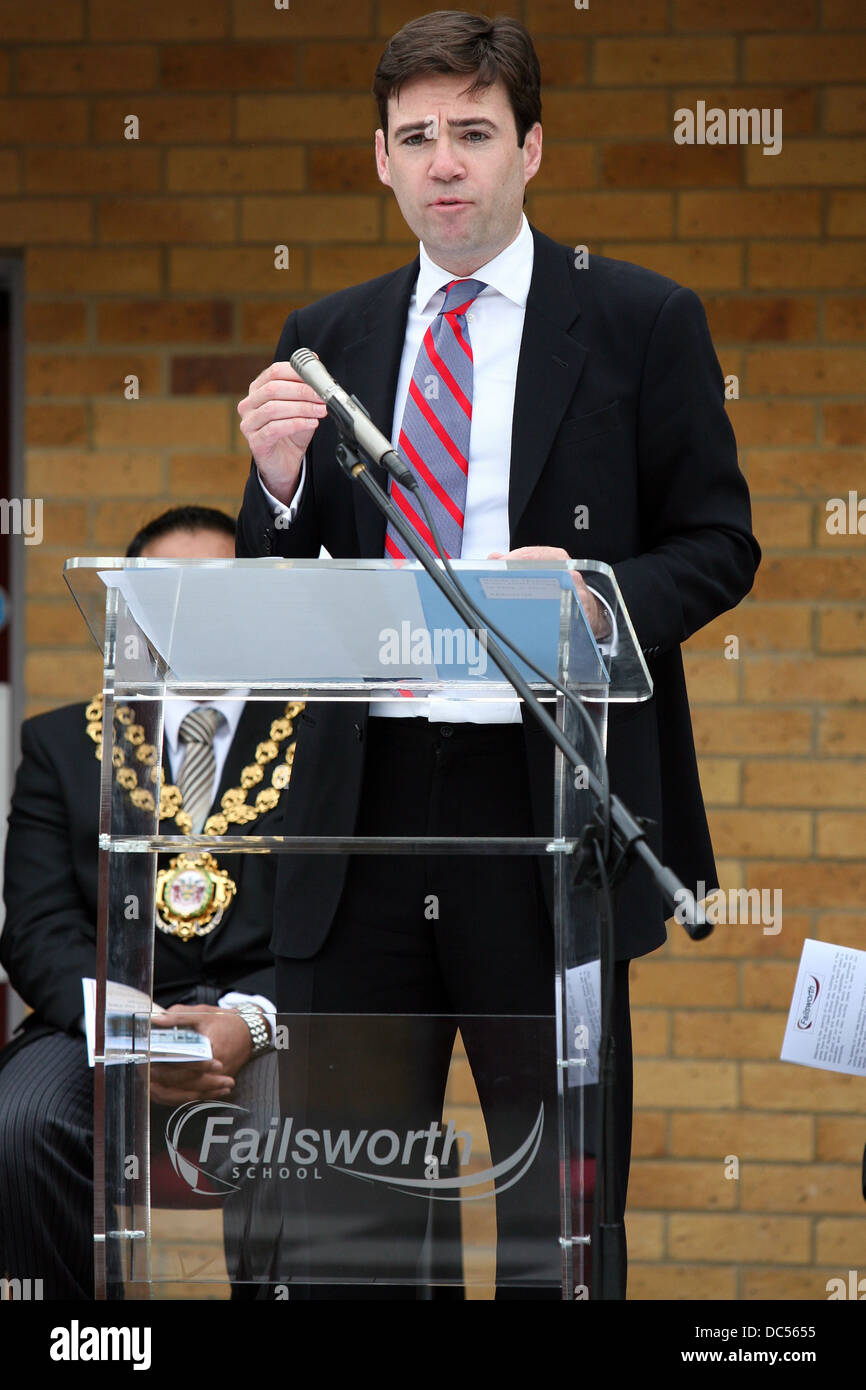Andy Burnham , Secretary of State for Culture, Media and Sport, at Failsworth School for it's official opening. - Stock Image