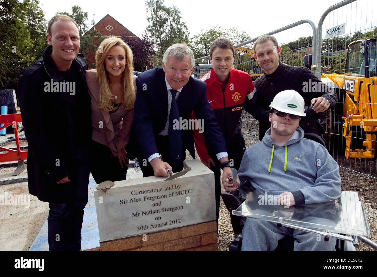 Sir Alex Ferguson gets work underway on an extension to Francis House Children's Hospice . - Stock Image
