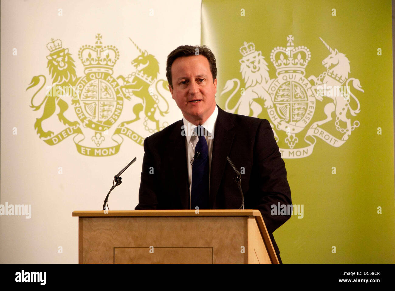 Prime Minister David Cameron addresses invited guests and members of the press at the Manchester Central Convention - Stock Image
