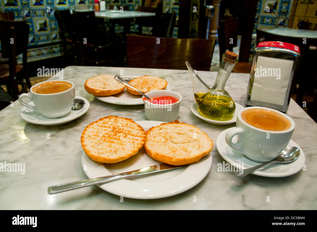 Spanish Breakfast Toast With Olive Oil And Cups Of Coffee Spain