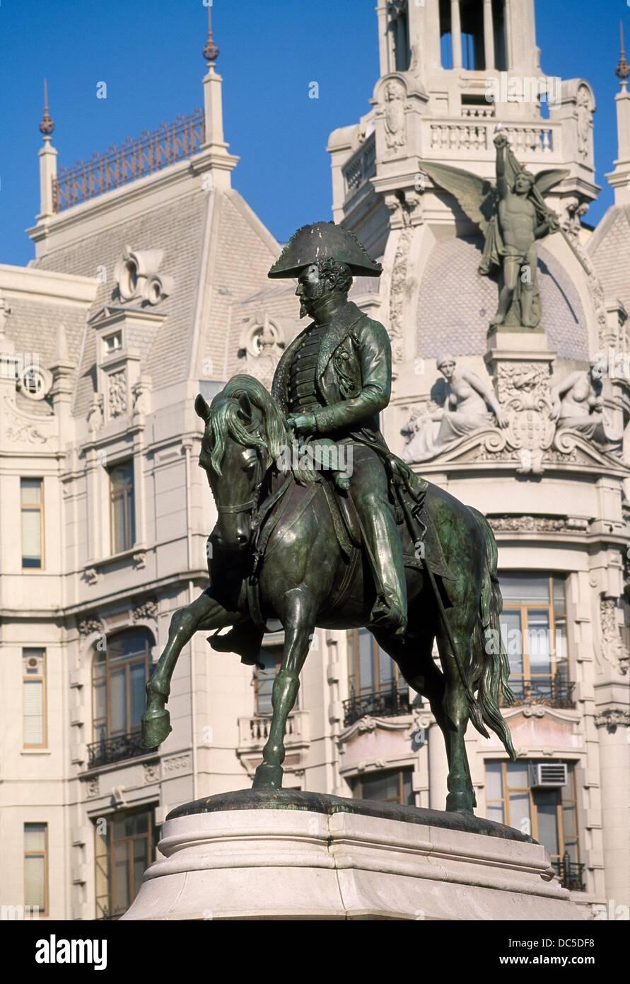 D  Pedro IV sculpture en Avd dos Aliados. Porto. Portugal. - Stock Image