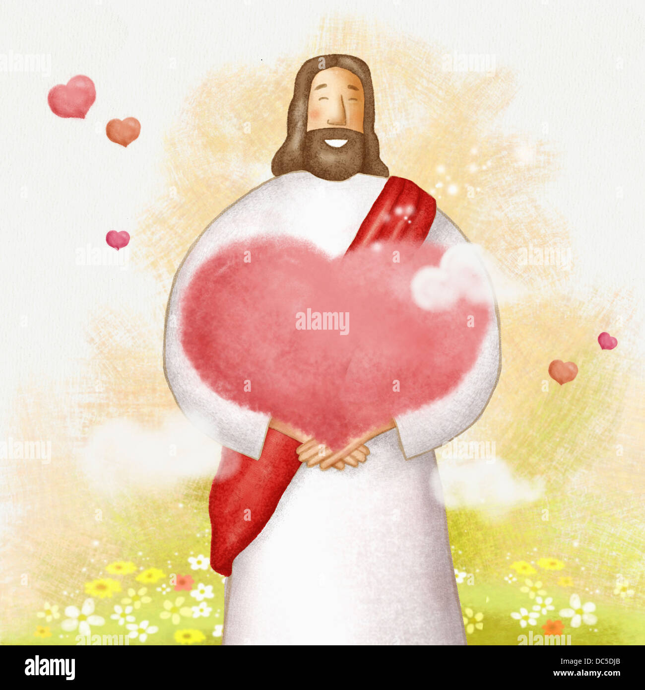 Jesus Christ Holding Heart Shape Stock Photos & Jesus Christ Holding ...