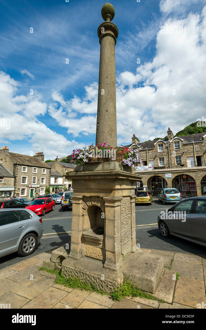 The old water trough in the centre of Settle North Yorkshire. North West England. Yorkshire Dales National Park. - Stock Image