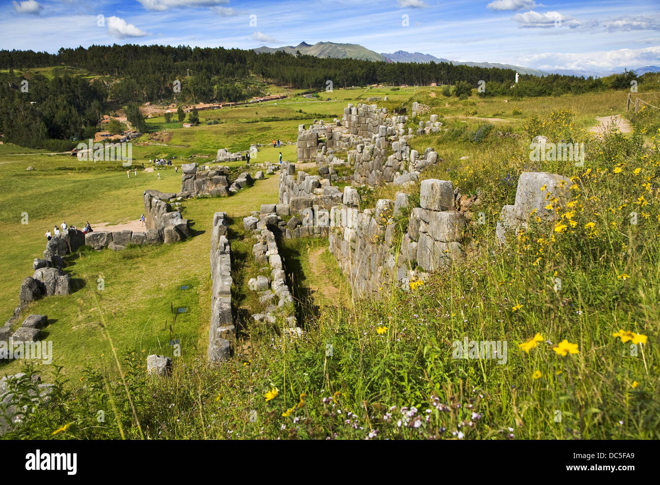 Sacsayhuaman pre-Columbian walled complex near the old city of Cusco, Peru - Stock Image
