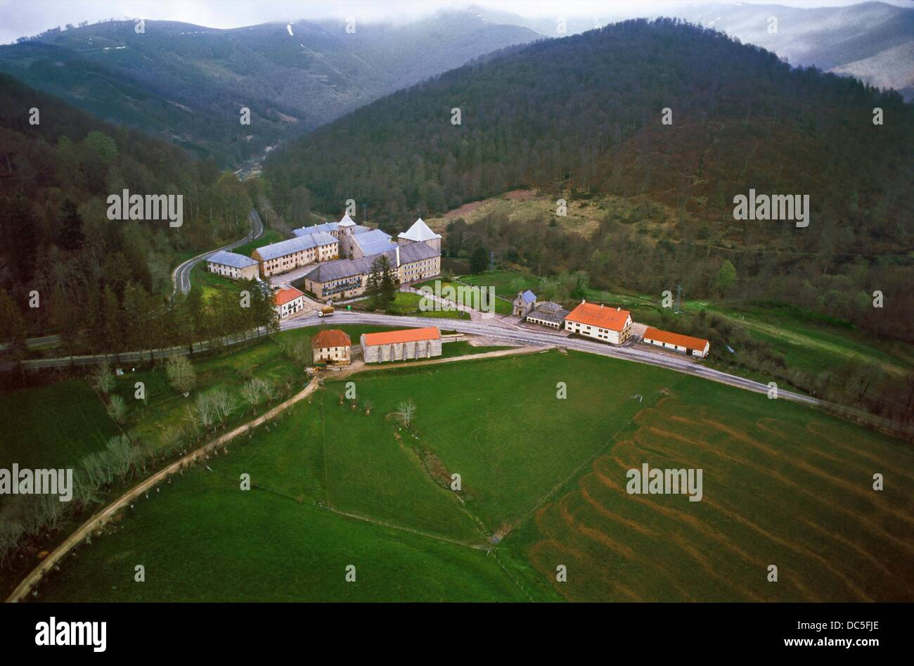 Roncesvalles Collegiate. Navarre-Province. Way to Santiago. Spain. - Stock Image