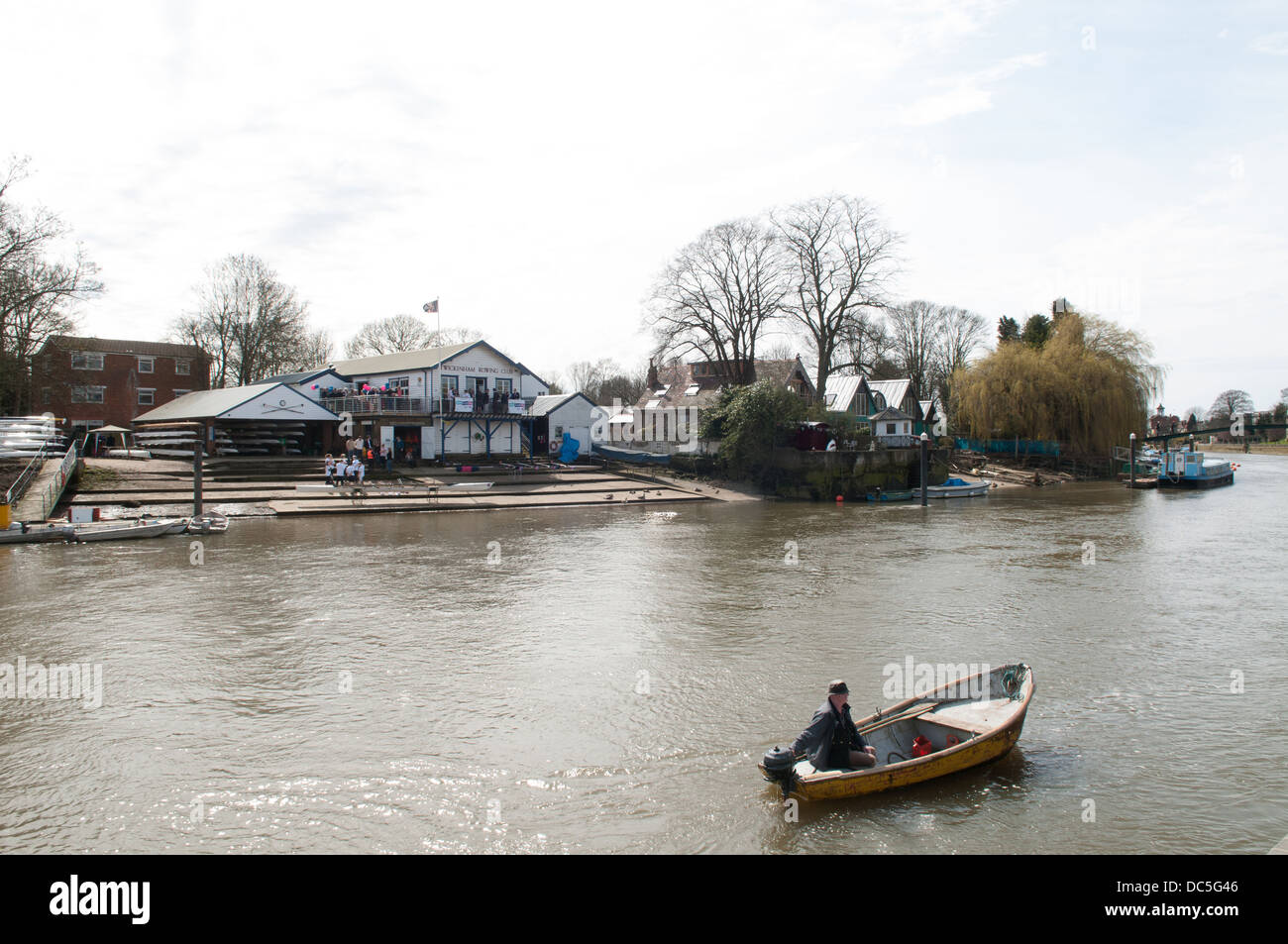 The Thames with the Twickenham Rowing club in the background, England, UK. - Stock Image