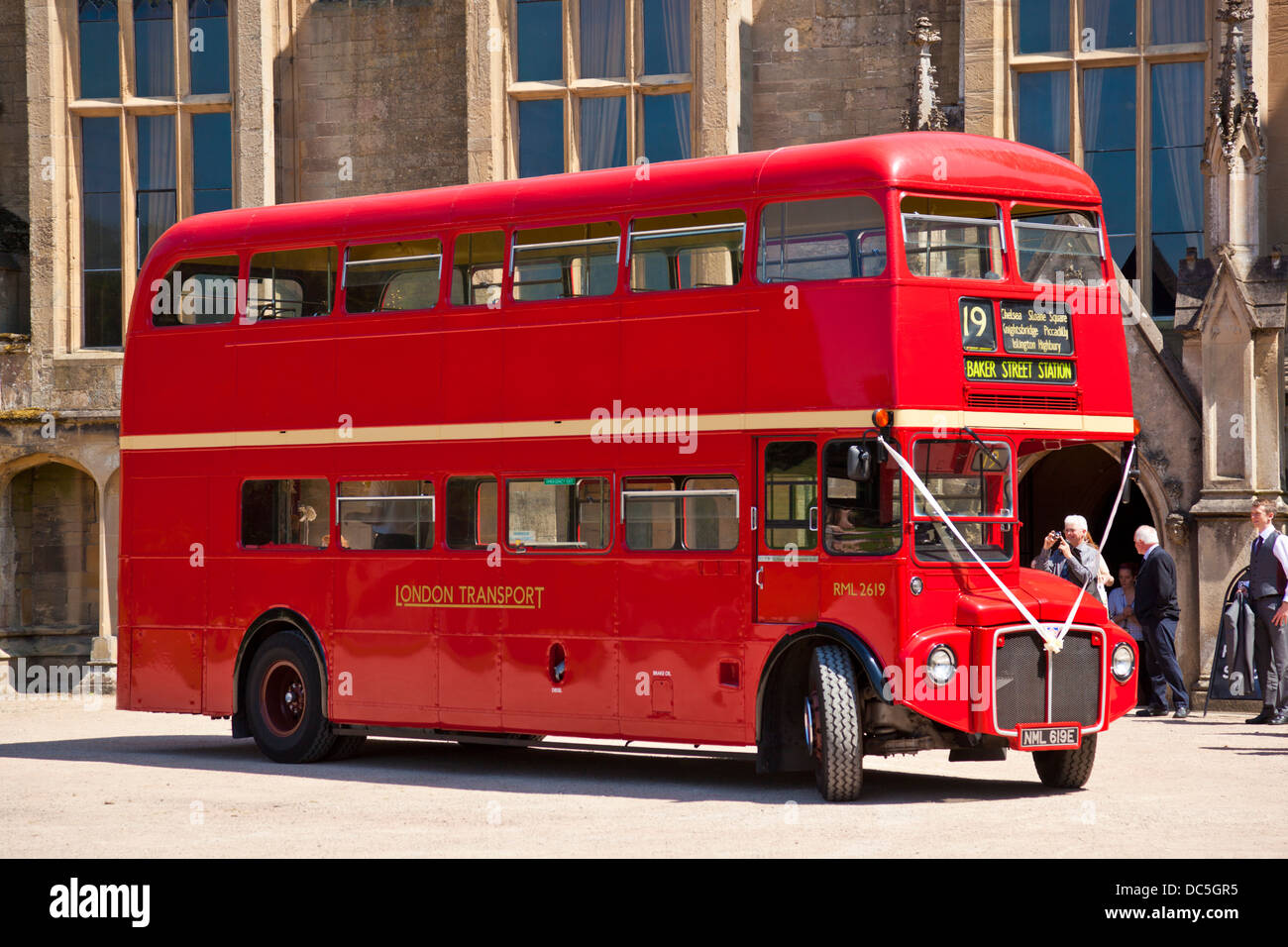 red London bus a routemaster outside Newstead Abbey Historic House Ravenshead Newstead Nottinghamshire England UK - Stock Image