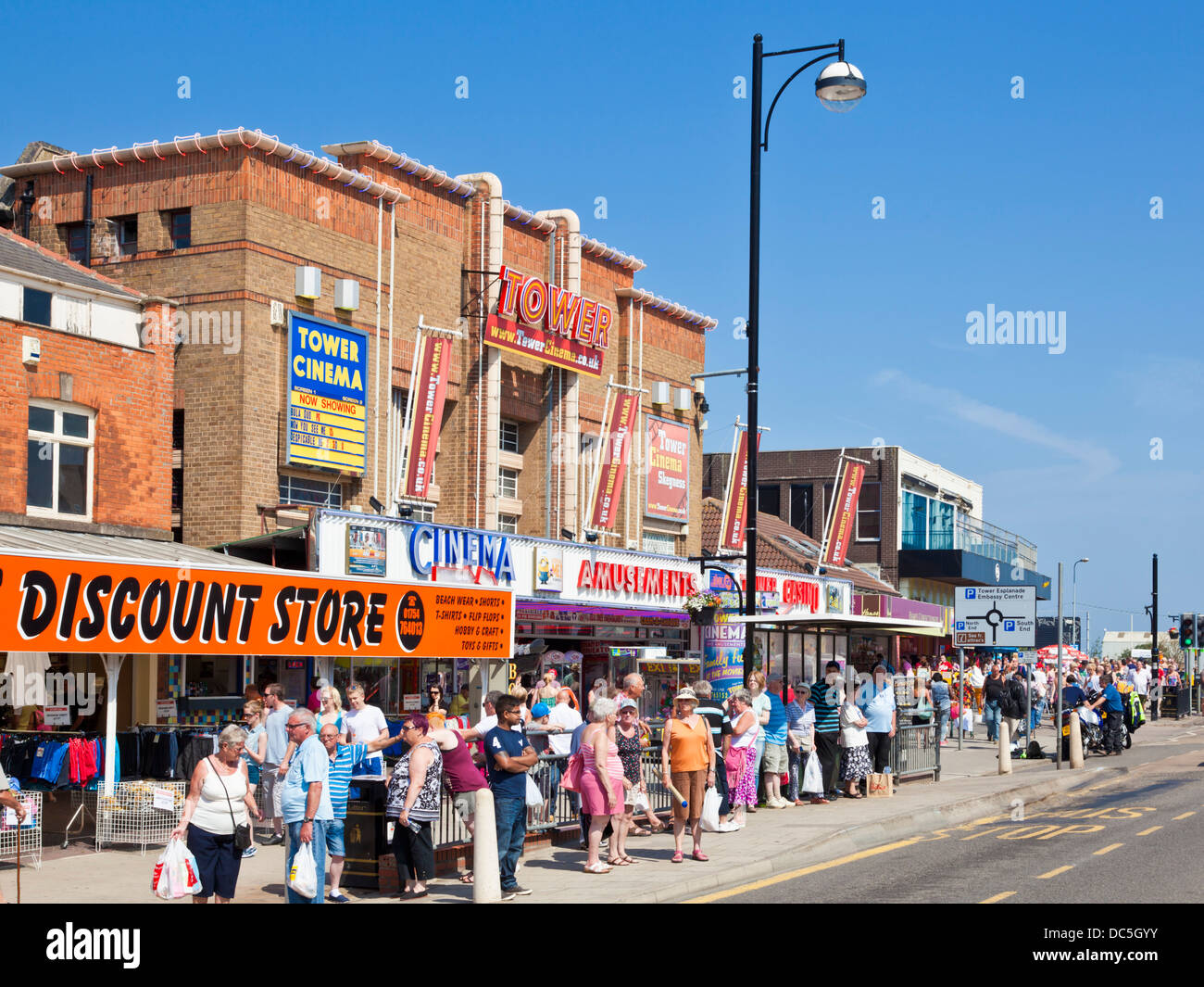 Shops and cinema in the town centre Skegness seafront Lincolnshire England UK GB EU Europe - Stock Image