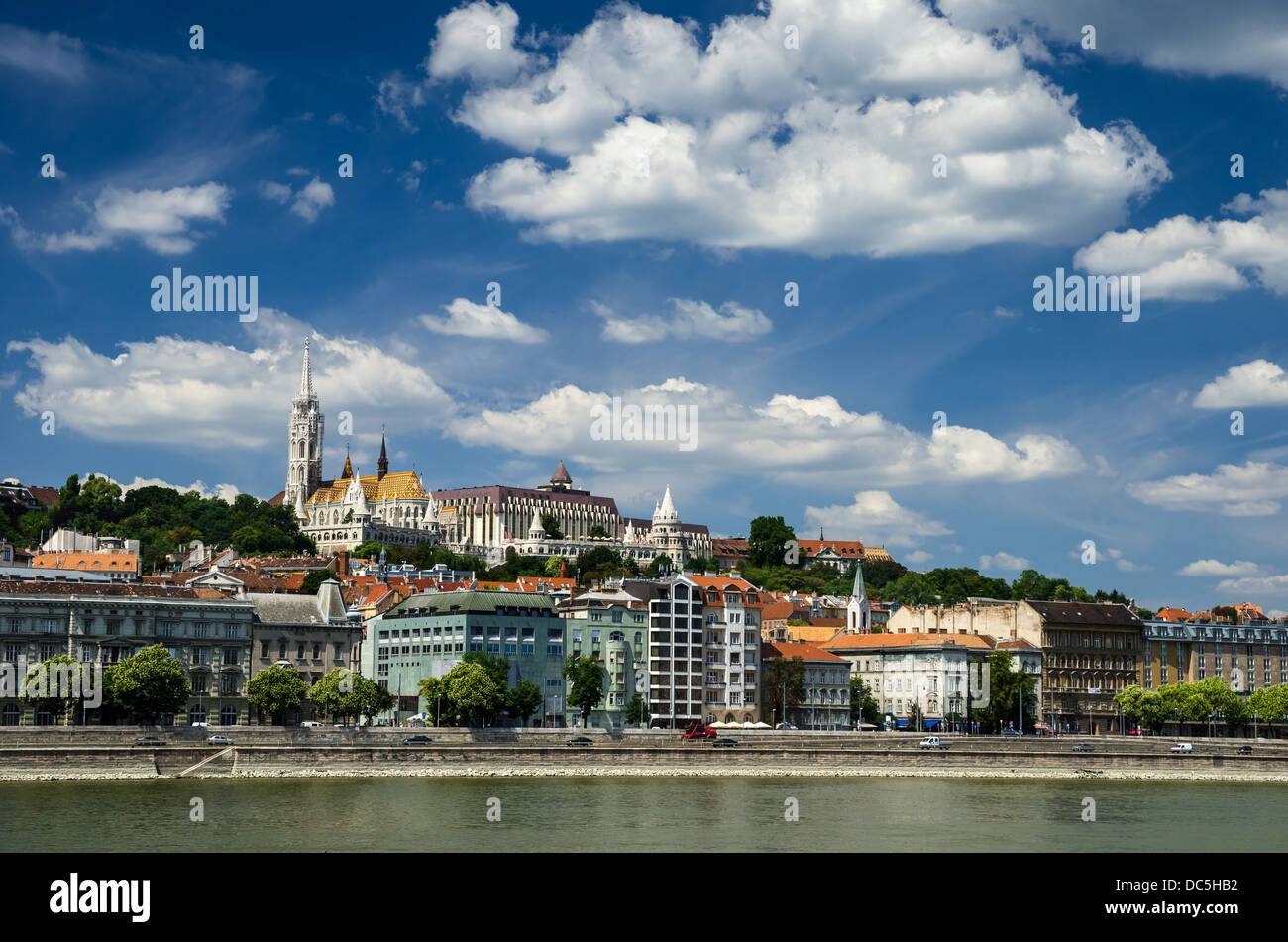 Buda Castle district and Matthias gothic style church, landmark of old city Budapest. - Stock Image