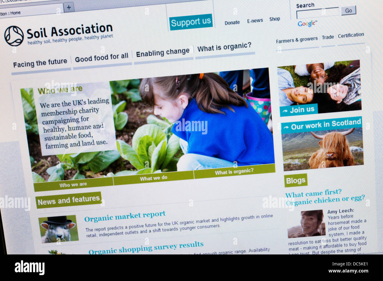 The home page of the Soil Association website. - Stock Image