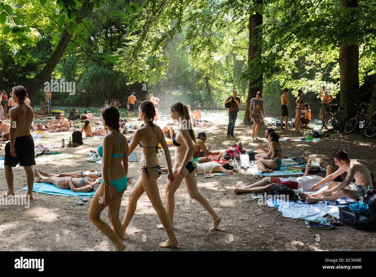 English garden in Munich on a hot summer day, Germany - Stock Image