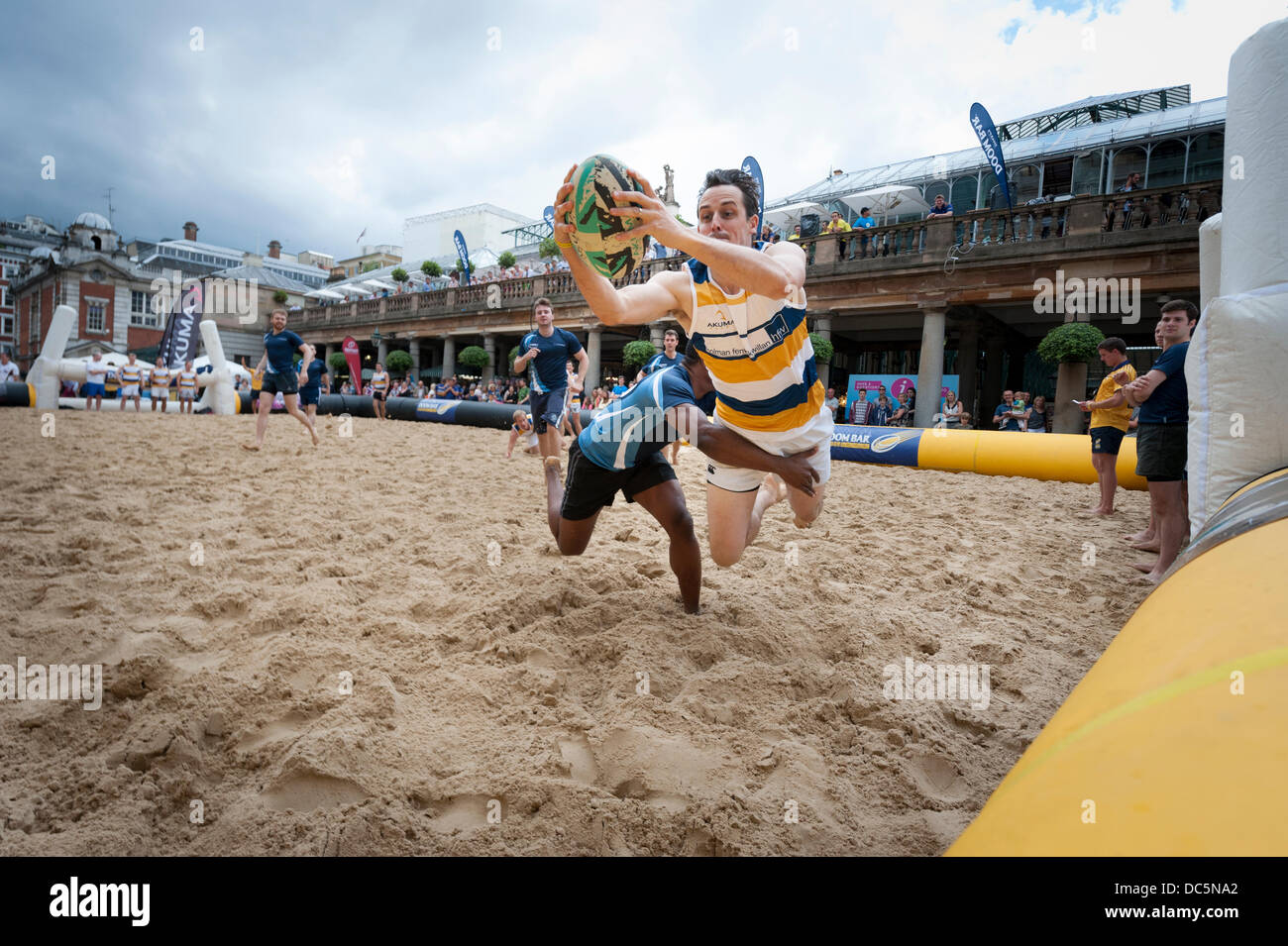 London, UK, 9th August, 2013. Covent Garden hosts the inaugural Doom Bar London Beach Rugby tournament, the location Stock Photo