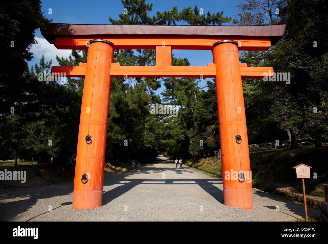 Torii, Kasuga Shrine, Nara, Japan. - Stock Image