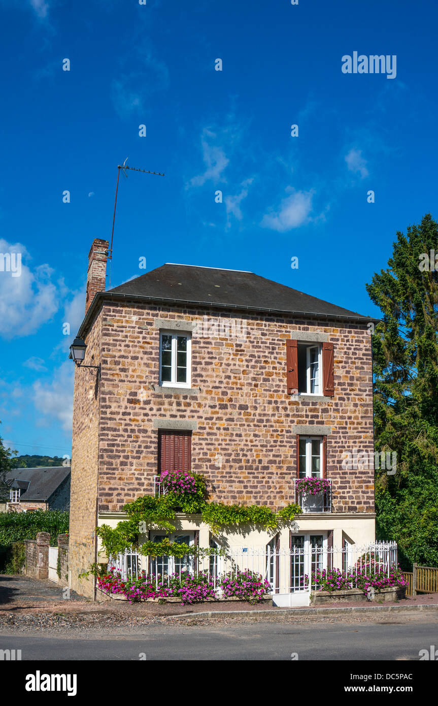 A detached house in Clécy (in the Calvados department of Normandy, north west France). Stock Photo