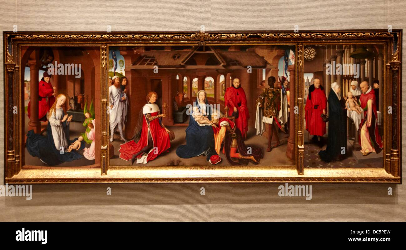 ´Nativity. The Adoration of the Magi. Purification´, triptych by Hans Memling, Prado Museum, Madrid, Spain. - Stock Image